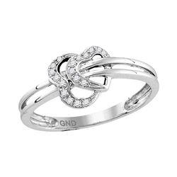 10kt White Gold Womens Round Diamond Threaded Heart Ring 1/12 Cttw