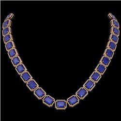 84.94 ctw Sapphire & Diamond Micro Pave Halo Necklace 10k Rose Gold