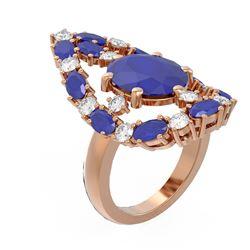 12.63 ctw Sapphire & Diamond Ring 18K Rose Gold