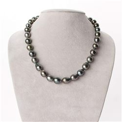 "Dark Silver and Peacock Green Baroque Tahitian Pearl Necklace, 18"", 8.5-10.7mm, AA+/AAA Quality"