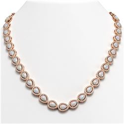27.93 ctw Opal & Diamond Micro Pave Halo Necklace 10k Rose Gold