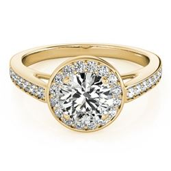 0.9 ctw Certified VS/SI Diamond Halo Ring 14k Yellow Gold