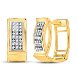 10kt Yellow Gold Womens Round Diamond Triple Row Huggie Earrings 1/6 Cttw