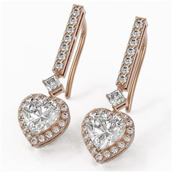 2.4 ctw Heart Diamond Designer Earrings 18K Rose Gold