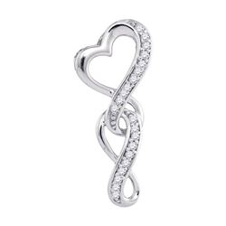 10kt White Gold Womens Round Diamond Heart Infinity Pendant 1/20 Cttw