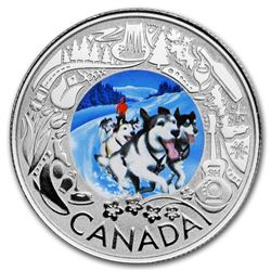 2019 Canada 1/4 oz Ag $3 Celebrating Canadian Fun: Dogsledding