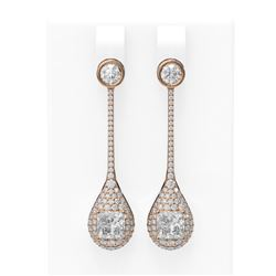 3.79 ctw Princess Diamond Earrings 18K Rose Gold
