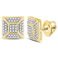 10kt Yellow Gold Mens Round Diamond Square Cluster Stud Earrings 1/5 Cttw