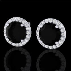 4 ctw Black Diamond Certified Micro Pave Earrings 18k White Gold