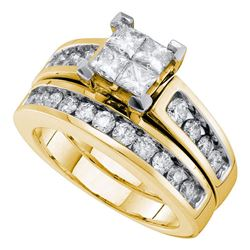 14kt Yellow Gold Womens Diamond Princess Bridal Wedding Engagement Ring Band Set 1-1/2 Cttw