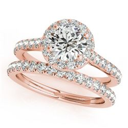 1.42 ctw Certified VS/SI Diamond 2pc Wedding Set Halo 14k Rose Gold