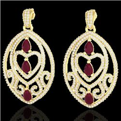 7 ctw Ruby & Micro Pave VS/SI Diamond Heart Earrings 18k Yellow Gold