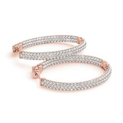 2.75 ctw Diamond VS/SI 38 MM Hoop Earrings 14k Rose Gold