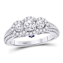 14kt White Gold Womens Round Diamond 3-stone Bridal Wedding Engagement Ring 1-1/4 Cttw