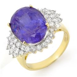 11.25 ctw Tanzanite & Diamond Ring 14k Yellow Gold