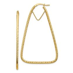 14k Yellow Gold Diamond-cut Triangle Hoop Earrings