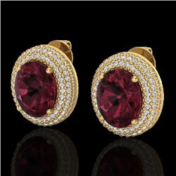 9 ctw Garnet & Micro Pave VS/SI Diamond Earrings 18k Yellow Gold
