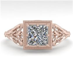 1.0 ctw VS/SI Princess Diamond Engagment Ring Art Deco 18k Rose Gold