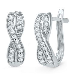 10kt White Gold Womens Round Diamond Double Row Crossover Hoop Earrings 1/5 Cttw