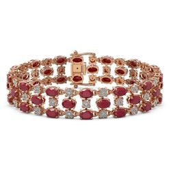 25.85 ctw Ruby & Diamond Bracelet 10K Rose Gold