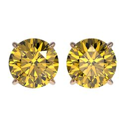 2.50 ctw Certified Intense Yellow Diamond Stud Earrings 10k Rose Gold