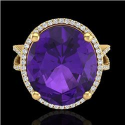10 ctw Amethyst & Micro Pave VS/SI Diamond Ring 18k Yellow Gold