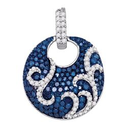 10kt White Gold Womens Round Blue Color Enhanced Diamond Circle Pendant 1.00 Cttw