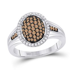 10kt White Gold Womens Round Brown Diamond Oval Cluster Ring 1/2 Cttw