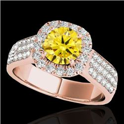 1.8 ctw Certified SI/I Fancy Intense Yellow Diamond Ring 10k Rose Gold