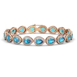16.59 ctw Swiss Topaz & Diamond Micro Pave Halo Bracelet 10k Rose Gold