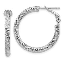 10k White Gold Round Omega Back Hoop Earrings - 20 mm