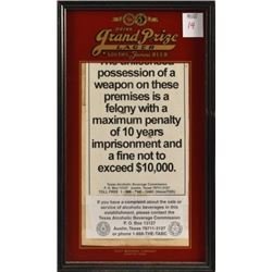Grand Prize Beer Advertising Liquor License Frame