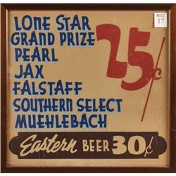 Texas Beers 25 Cents Vintage Sign