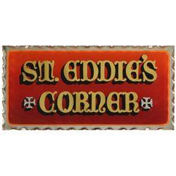 St. Eddie's Corner Custom Glass Sign