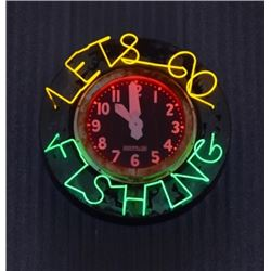 Let's Go Fishing Large Exterior Neon Clock