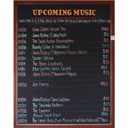 Threadgill's Live Music Calendar Board