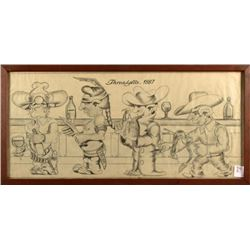 Threadgill's1887 Pencil Drawling Framed