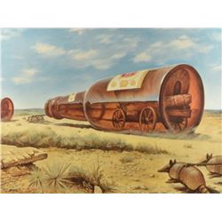 Jim Franklin Prairie Schooner Enlarged on Canvas