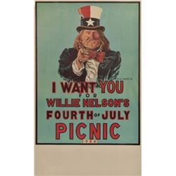 Willie Nelson 4th of July Picnic Poster Uncle Sam