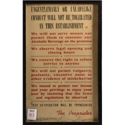 Ungentlemanly / Unladylike Conduct Bar Poster