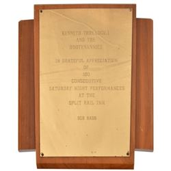 Kenneth Threadgill 100 Consecutive Shows Plaque