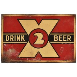 Drink 2X Beer Tin Sign