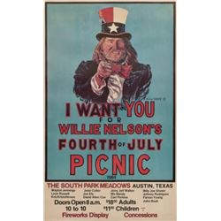 Willie Nelson 4th of July Picnic Poster 1984