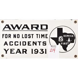 Texas No Accidents Year 1931 Porcelain Sign