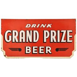 Drink Grand Prize Beer Double Sided Porcelain Sign
