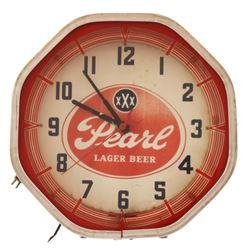 Pearl Beer Neon Clock