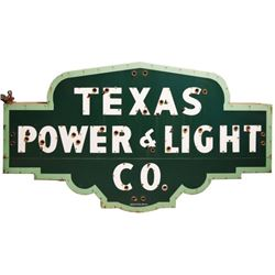 Texas Power And Light Co. Porcelain Sign