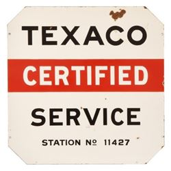 Texaco Certified Service Porcelain Sign