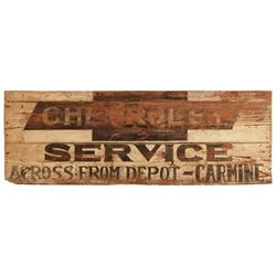 Chevrolet Service Carmine Texas Painted Wood Sign