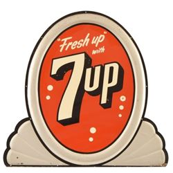 Fresh Up With 7Up Oval Tin Sign
